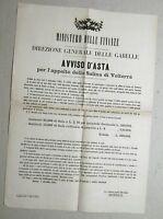 """MANIFESTO ORIG. """"MINISTERO DELLE FINANZE-DIR. GEN. DELLE GABELLE """" 1° DIC. 1865"""