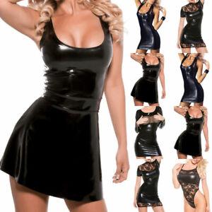Damen Sexy Wetlook Minikleid Lack-Optik Glänzend Spitze Abendkleid Partykleider