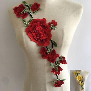 Embroidered 3D Rose Flower Neckline Lace Collar Trim Sew Patch Applique Corsage