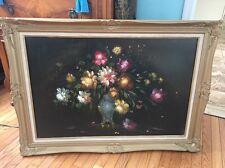 Huge Vintage Estate R. Hunther original antique oil painting flowers