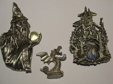 Pewter Collection - Wizard Pin - Castle Pin and a - Dragon