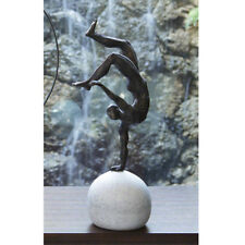 """18"""" Tall Balancing Act Sculpture Artisan Metal Figure Atop Round Stone"""