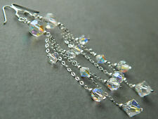 Vintage Sparkling AB Crystals & 925 Silver ~ Alex Polizzi Style Long Earrings