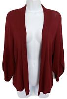 EILEEN FISHER Womens Open Front Cardigan Sweater 3/4 Sleeve Stretch Red Small S
