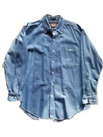 Ralph Lauren Vintage Mens Blue Denim Button Down Shirt Long Sleeve Size 17 34-35
