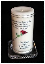"SISTER  large personalised Memorial 6"" inch candle   #8"