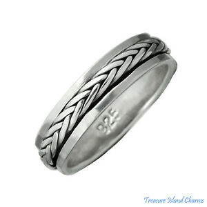 Celtic Weave Braid Spinner Spinning 925 Sterling Silver Ring 5mm Band Sizes 6-13