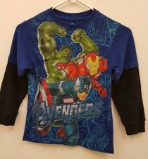 Kids New Marvel Avengers T Shirt Graphic Print Long Sleeve Top Blue Size 7 Years