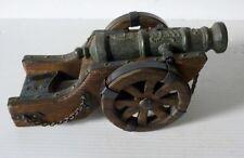 """Petit CANON Ancien Décoratif en Bois et Métal """"Artilleria Imperial Carlos"""""""
