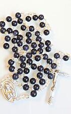 Blue Sunstone Men's Women's Rosary Necklace Catholic Prayer Beads