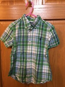 Ralph Lauren Boys 4T Green Button Down Short Sleeved Shirt