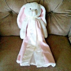 Blankets & Beyond BUNNY RABBIT Pink Security Blanket White Satin Edge/Reverse