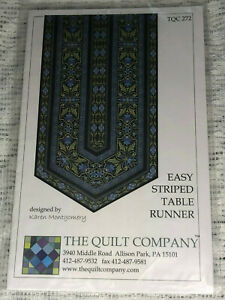 """Quilt Pattern NIP ~ Easy Striped Tablerunner 16"""" x 45""""- The Quilt Company"""