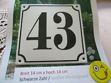 Hausnummer Emaille Nr. 43 schwarze Zahl auf weißem Hintergrund 14 cm x 14 cm