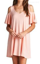 Solid Cold Shoulder Ruffled Sleeve V Neck Dress Thigh Length Casual Rayon S M L