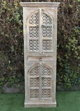 Antique Shabby Chic Timber Hand Carved Mehrab Tall Cabinet Cupboard Storage Boho