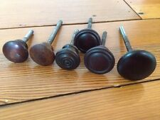 Mixed Lot of 6 Victorian Antique Dark Walnut Wood Drawer Pulls Knobs Threaded