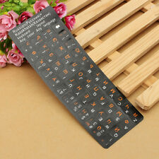 Standard Russian Keyboard Sticker Layout Durable Black With Orange Letters