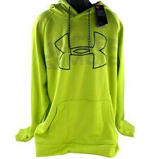 Under Armour Mens Coldgear Big Logo Pullover Hoodie 3XL Loose Neon Yellow & Gray