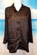 JOSIE Womans BLACK Lightweight TUNIC Blouse SHEER Back and Sleeves size XL
