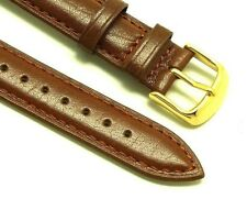 18mm Brown Smooth Leather Watch Strap Gold Plated Buckle With 2 Spring Bar