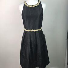 J. Crew NWT NEW Womens A-Line Black Silk Taffeta Ivory Floral Trim Size 4 AM4