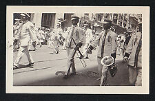 Vintage Antique Photograph Men in Uniforms With Musical Instruments in Parade
