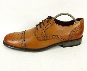 Clarks Originals Mens Tan Leather Smart Wingtip Brogue Shoes UK 9.5