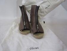 "Celine Brown""Sattle Style"" Leather Peep Toe Wedges Size 9B"