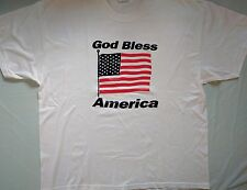 mens Graphic T shirt Hanes Size XL Flag God Bless America Red White Blue Stars