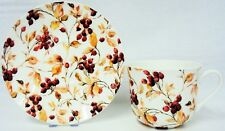 Berries Large Cup & Saucer Fine Bone China Berry Breakfast Set Hand Decorated UK