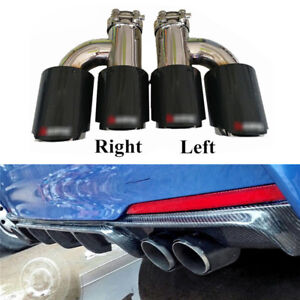 "H Style Carbon Fiber Exhaust Pipe Tail Muffler Tip Left+Right 2.48 to 3.5"" out"