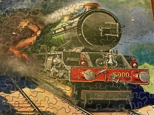 ANTIQUE GWR WOODEN JIGSAW PUZZLE 6000 KING GEORGE V STEAM TRAIN - COMPLETE