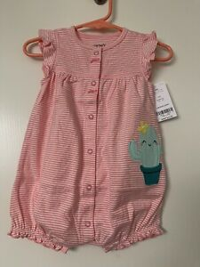 Carter's Baby Girl Snap Up Romper Cactus, Pink stripe Size 6 months Cute Newborn