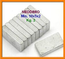 20 Pezzi NEODIMIO MAGNETE 10X5X2 mm. 2 KG. CALAMITA CALAMITE MAGNETI