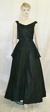 50's Vintage Peplum Lace Black Rockabilly Formal Gown Prom Dress - Size 2