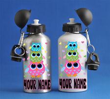 Owls Girls Kids Water Sports Bottle Silver Or White School PE Gym Great Gift!