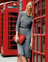 Boden ZOE Shift Grey Ottoman Dress Cotton Blend Size UK 10 R US 6 R New