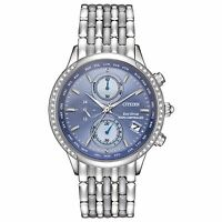 Citizen Eco-Drive A-T Women's Chronograph Blue Multi Dial 38mm Watch FC5000-51L