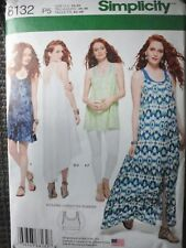 Simplicity Misses Tank Dress Or Tunic & Bralette Size.12 To 20 Uncut FF Pattern
