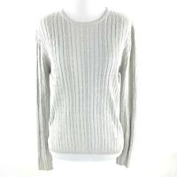 Andrea Viccaro Women's Silk Blend Size Medium Cable Knit Gray Long Sleeve Size M