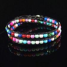 Handmade Multilayer Wrap Knitted Leather Bracelet Glass Crystal Gemstone Beads