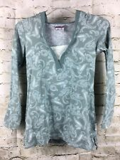 Curves Women's Hoodie Shirt Small S Long Sleeve Green Grey Paisley Print F46