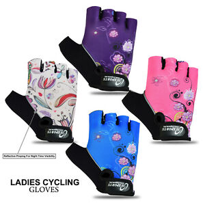 Ladies Cycling Gloves Half Finger Bicycle Gel Padded Fingerless (Best Quality)