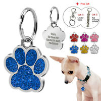 Bling Paw Print Custom Engraved Dog Tags Pet Puppy Cat ID Tag Kitten Collar Tags