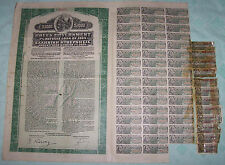 Greece Gold Bond 7% Refugee Loan 1924 Greek Government $1000 Uncancelled coupons