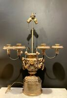 Late 18th/ Early 19th Century Parcel Gilt Polychrome Candelabra Lamp