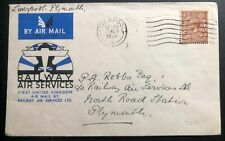 1934 Liverpool England First Flight Cover Ffc to Plymouth Railway Airmail