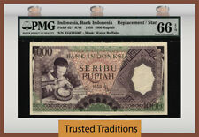 TT PK 62* 1958 INDONESIA 1000 RUPIAH REPLACEMENT STAR PMG 66 EPQ GEM NONE FINER