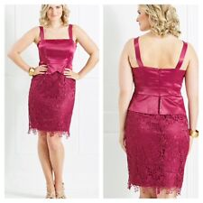 Kaleidoscope Size 8 Magenta Satin Lace Peplum DRESS Occasion Wedding Races £105
